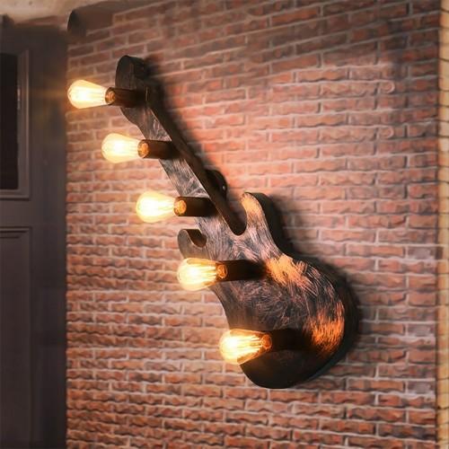 Gitarre Wandlampe, Industrieller Wind Kreativ Bar Bartheke Studio Eisenkunst Wandlampe