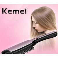 KEMEI LED Glattes Haar kämmen Haarglätter aus Keramik Multifunktions-Spritzkamm Negative Ionenhaarpflege