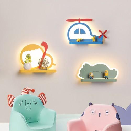 LED Kinder Wandleuchte,| als Regal verwendbar |  Dreifarbiges Dimmen -12W (Lichtquelle enthalten)