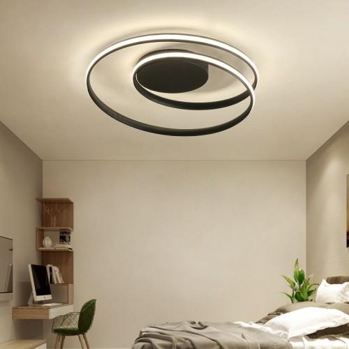 LED Wohnzimmerlampe Deckenleuchte Dimmbar mit Fernbedienung, Ring Badlampe Flurlampe Deckenlampe,Chic Blütenform-Design Metall Acryl Deckenbeleuchtung für Schlafzimmer Esszimmer Küche Lampen (Schwarz) [Energieklasse A++]