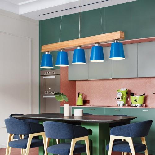 LED Pendelleuchte Esstisch Hängeleuchte Holz Hängelampe Pendellampe 5-flammig für Esszimmer Schlafzimmer Wohnzimmer Büro Restaurant Cafe [Energieklasse A]