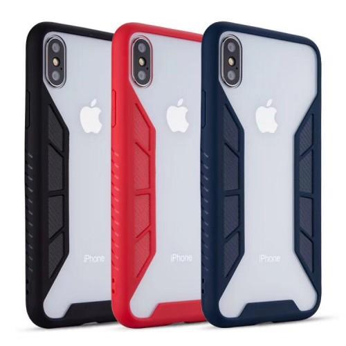 Kohlefaser Schutz Slim Fit Shockproof Cover Transparente Anti-Fall-Handyhülle für iPhone 6/7/6P/7P/6S P / 8P / X