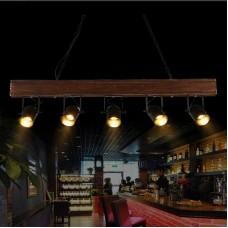 Vintage Deckenlampe Holz Pendelleuchte hängende Beleuchtung Holz und Metall Streifen Decke Kronleuchter Büro, Esstisch, Arbeitszimmer Pendel Lampe Balkon Schlafzimmer