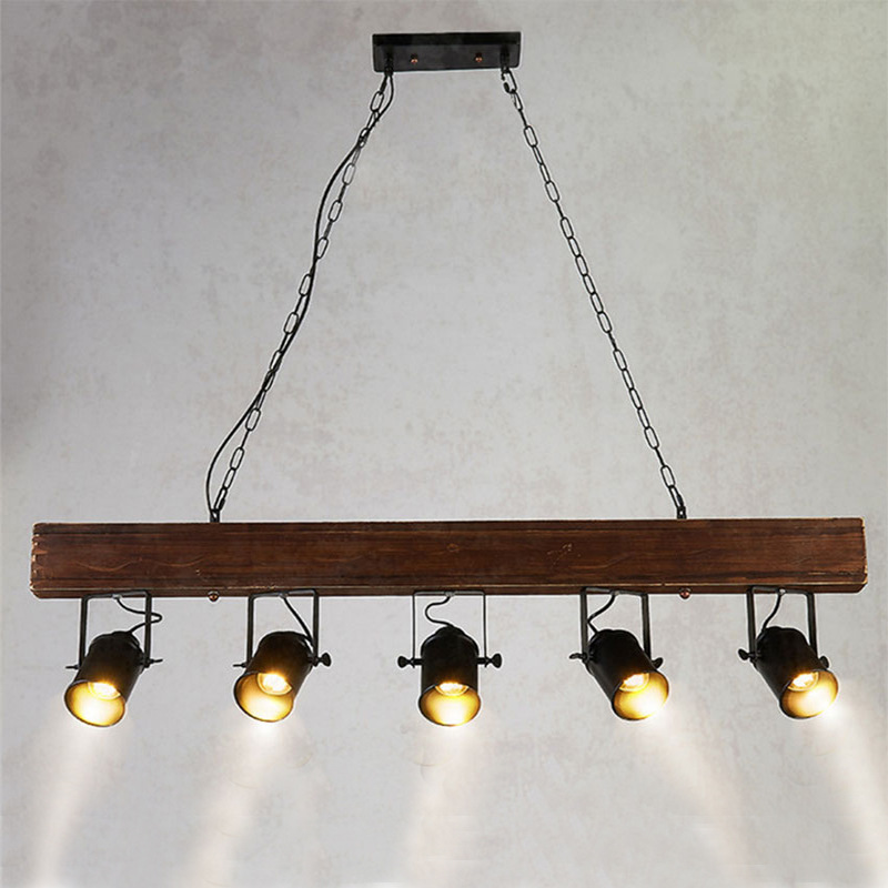 Vintage Deckenlampe Holz Pendelleuchte Hängende Beleuchtung