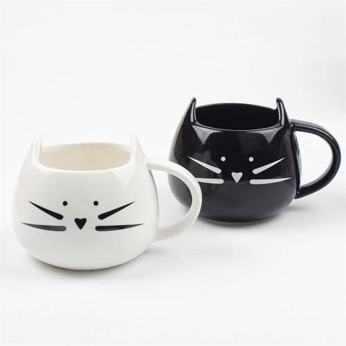 Nette Katzentasse-Becherkätzchen-Kaffeetasse-Teecup-Kaffeetasse, weiß + Schwarzes