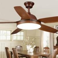 Deluxe 5-Blatt Kunststoffblatt Einzellicht Deckenventilator LED Indoor Deckenventilator Licht, 56 Zoll, braun