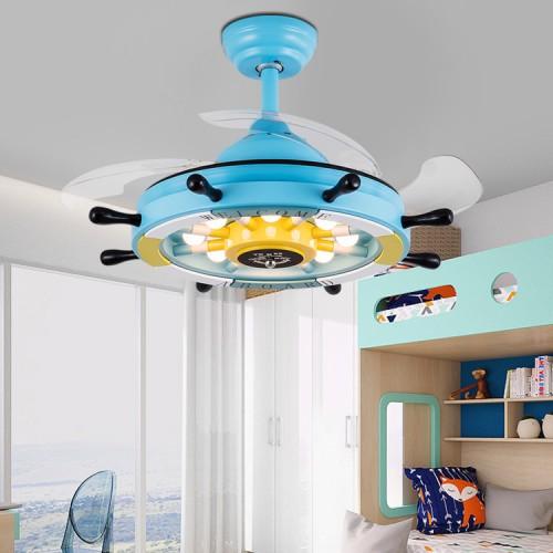 Led Unsichtbare Deckenventilator Lichter 36 Zoll Blau Piratenschiff Lenkrad Einziehbare Deckenventilator Kronleuchter für Wohnzimmer Schlafzimmer Esszimmer Deckenventilator Lampe