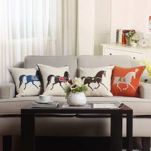 Einfache moderne Stickerei Pferd Kissen Schlafzimmer Wohnzimmer Sofa Kissen Auto Büro Kissen