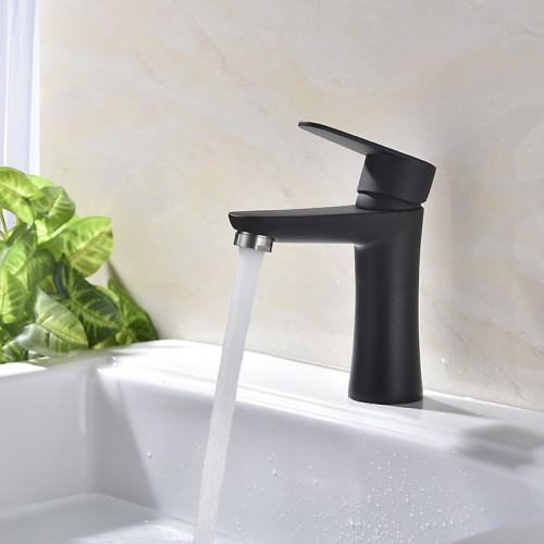 304 Edelstahl gebürstet schwarz und weiß Farbe heißen und kalten Becken Wasserhahn
