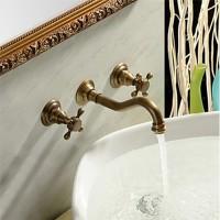 Doppelgriff Antik Messing lange gebogene Auslauf Waschbecken Wasserhahn - Wandhalterung
