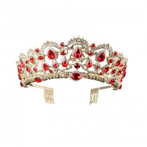 Barock Royal Queen Gold Hochzeit Krone Kristall Prinzessin Tiara Stirnbänder für Frauen Braut Party Geburtstag Kopfschmuck