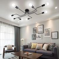 8 Lichter Metall Unterputz Deckenleuchte Moderne Schwarze Stahl Kunst Mitte Jahrhundert Vintage Sputnik Kronleuchter Wohnzimmer Esszimmer Schlafzimmer Küche Leuchten