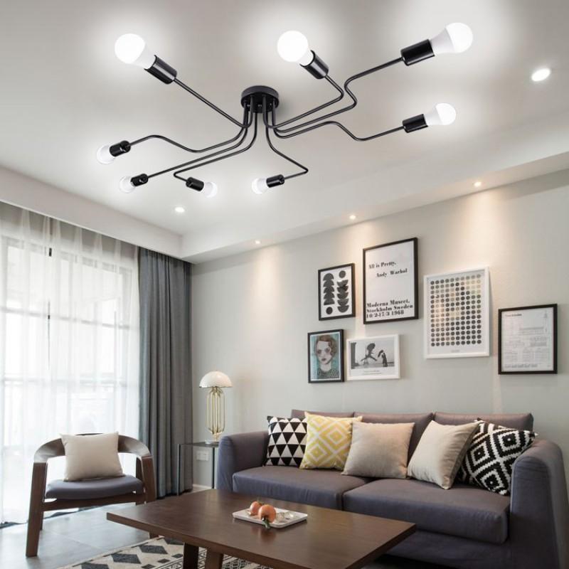 8 Lichter Metall Unterputz Deckenleuchte Moderne Schwarze Stahl Kunst Mitte  Jahrhundert Vintage Sputnik Kronleuchter Wohnzimmer Esszimmer Schlafzimmer  ...