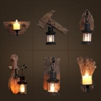 Vintage E27 Wandleuchte Retro Kerzen Form Wandleuchte Metall Eisen Lampe Schwarz Klassisch Leuchte Aus Holz Deckenleuchte Wandbeleuchtung für Treppen Flur Aisle Loft Bar Schlafzimmer Lampe