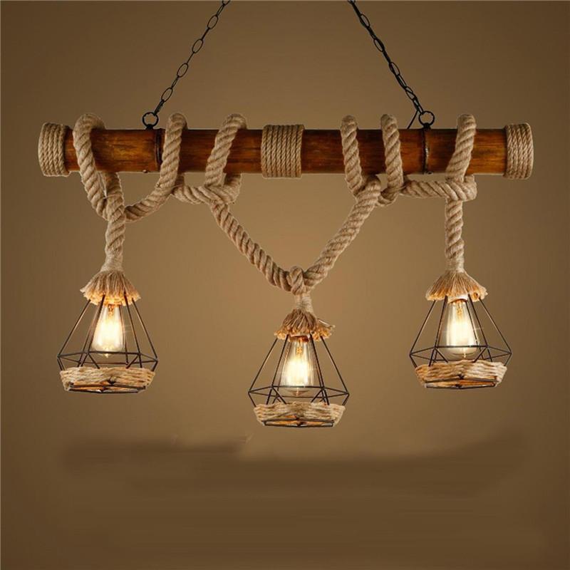 Retro Vintage Seilleuchte Seil Lichter Kronleuchter Rustikal