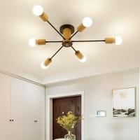 Nordic Style Gold Kronleuchter 6 Köpfe Holz Pendelleuchte für Wohnzimmer, Tisch, Flur, Esszimmer Leuchte