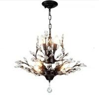 Vintage Kristall Zweig Kronleuchter schwarze Deckenpendelleuchte Unterputzleuchte mit 7/8 Licht, für Wohnzimmer Esstisch Veranda