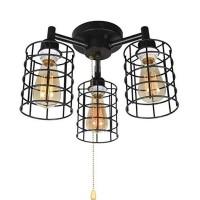 Industrielle Deckenleuchte mit Zugkette, Metalldrahtkäfig, halbbündige Deckenbeleuchtung Steampunk Pull String Light Fixture 3 Lights