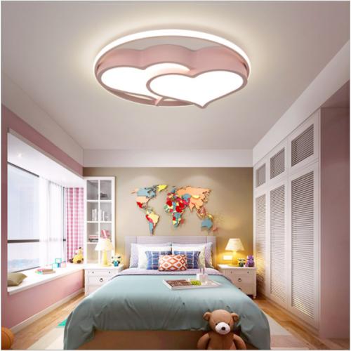 Herzförmige LED-Schlafzimmerlampe rosa warme und romantische Deckenlampe Kinderbeleuchtung