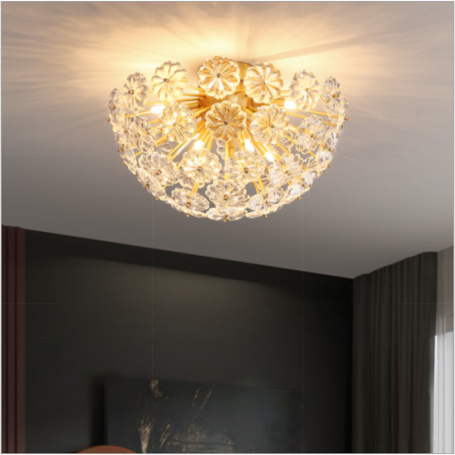 Nordic Kupferkristall Deckenleuchte Luxus Schlafzimmer Veranda Balkon Gang Korridor Kreative Blütenblatt Personalisierte Lampen