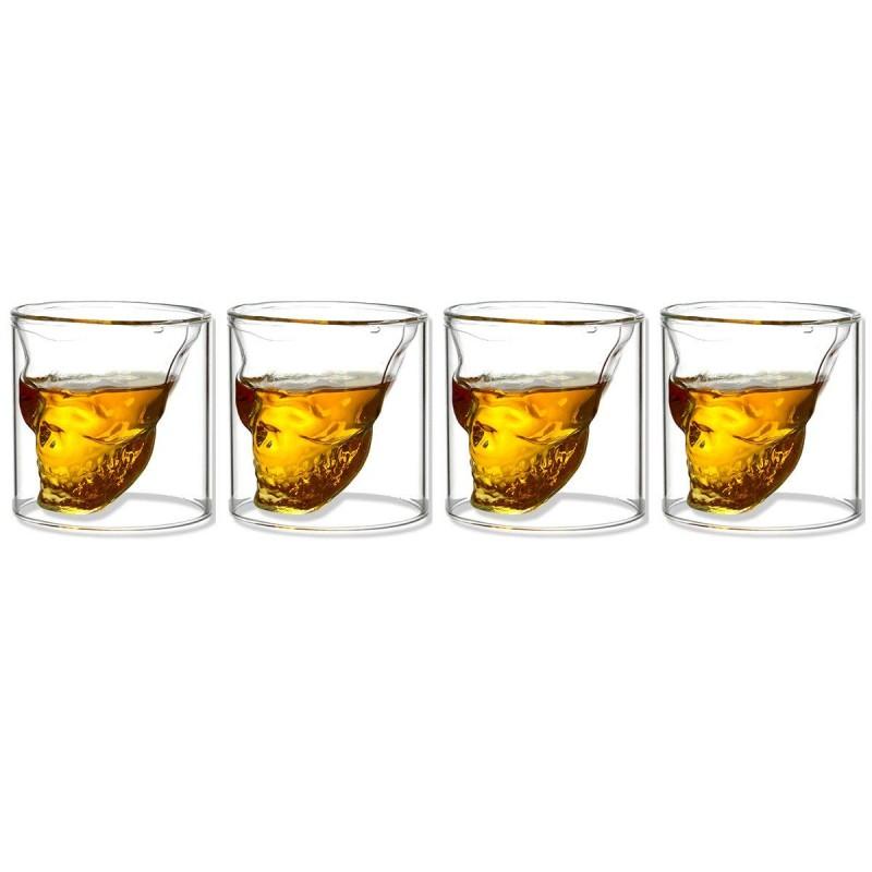 Whisky SET Karaffe Glas 6x Whiskygläser Whiskybecher SCHÄDEL 6x Whiskey Steine
