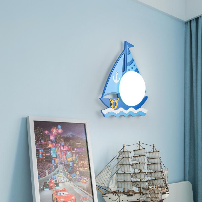 Kinder Wandleuchte LED Nachtlampe Kreative Segelboot Wandlampe Mit Schalter  Rund Milchglas Lampenschirm für Schlafzimmer Wohnzimmer Flur Treppen ...