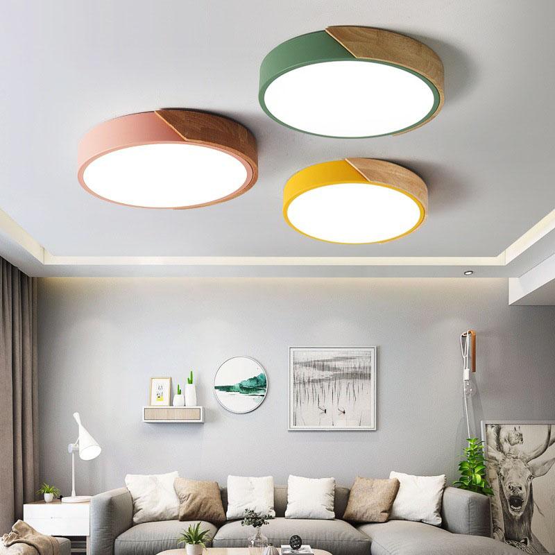 LED Deckenleuchte, 24W LED Flurlampe, Runde Deckenlampe Wohnzimmer, Holz &  Metall, H x D: 6 x 40 cm, Schwarz [Energieklasse A++]
