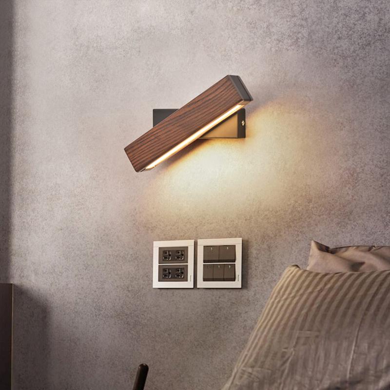 Wandleuchte Nordic Wandleuchte Schlafzimmer Nachttischlampe Massivholz Gang Einfache Moderne Kreative Drehbare Dimmen Led Lesewandleuchte