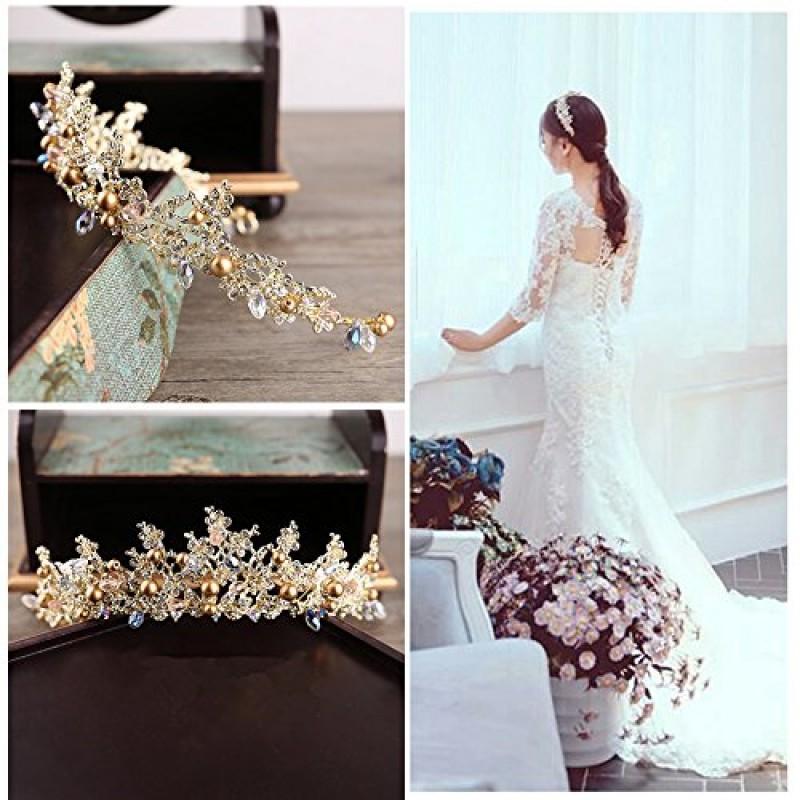 Diadem Tiara Krone Strass Männer Gold Perle Haarschmuck Hochzeit Klassisch